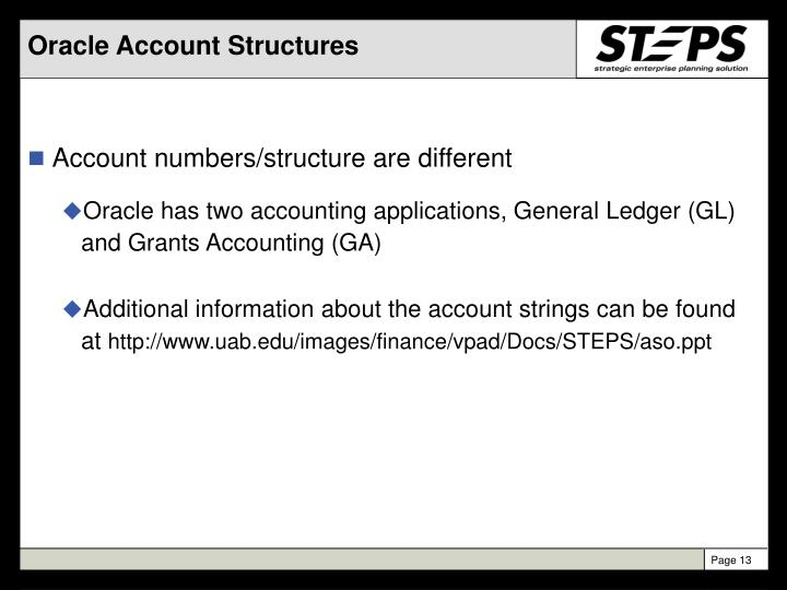 Oracle Account Structures