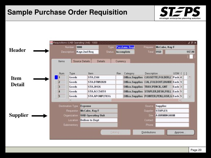 Sample Purchase Order Requisition