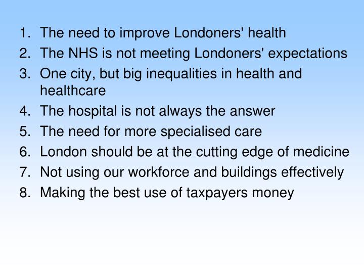 The need to improve Londoners' health