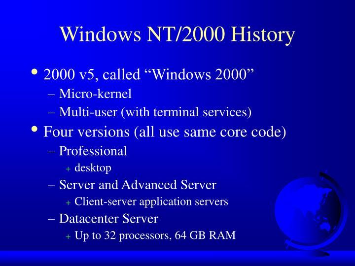 Windows NT/2000 History