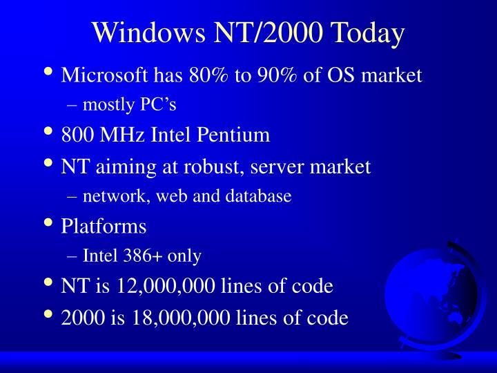 Windows NT/2000 Today