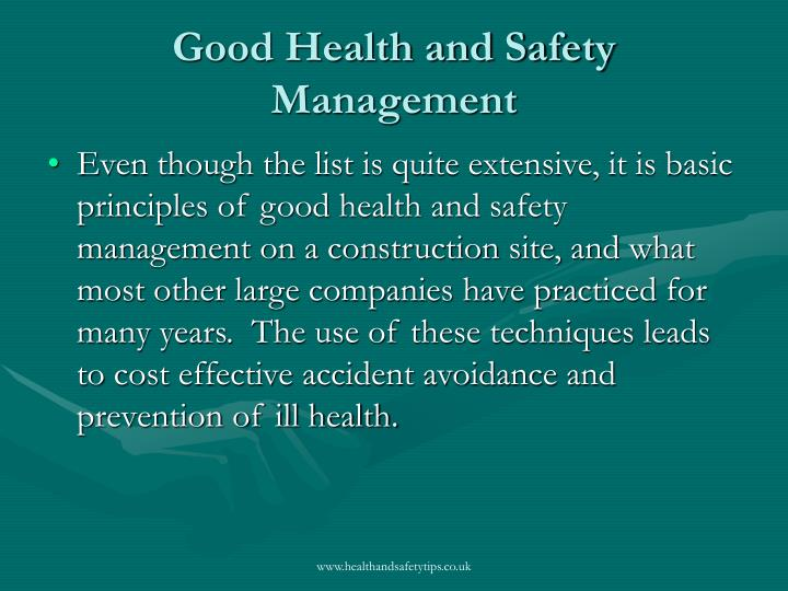 Good Health and Safety Management