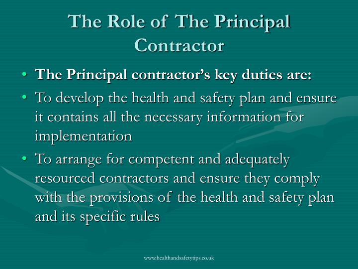 The role of the principal contractor1
