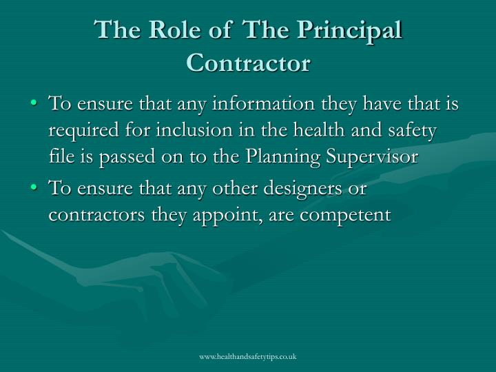 The Role of The Principal Contractor