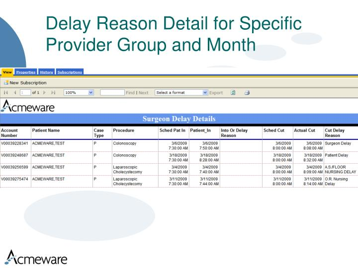 Delay Reason Detail for Specific Provider Group and Month