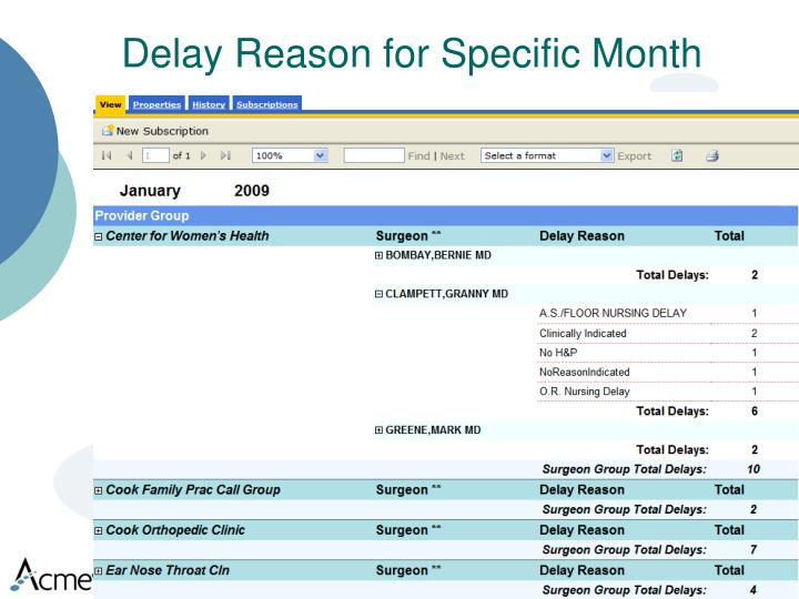 Delay Reason for Specific Month