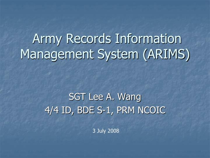 army records information management system arims n.