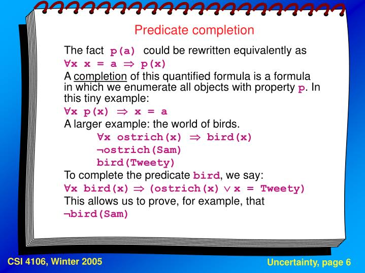 Predicate completion