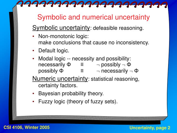 Symbolic and numerical uncertainty