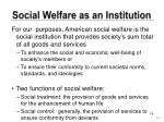 social welfare as an institution