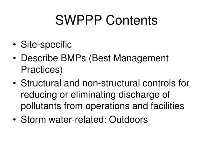 SWPPP Contents