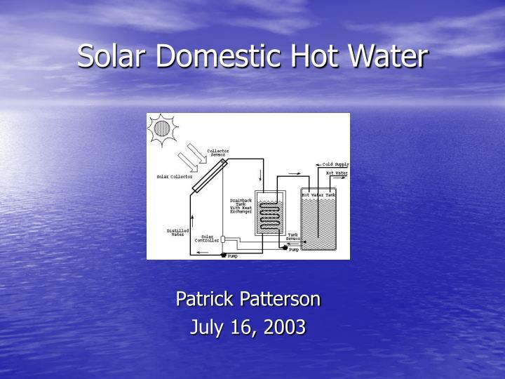 solar domestic hot water n.