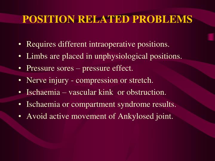 POSITION RELATED PROBLEMS
