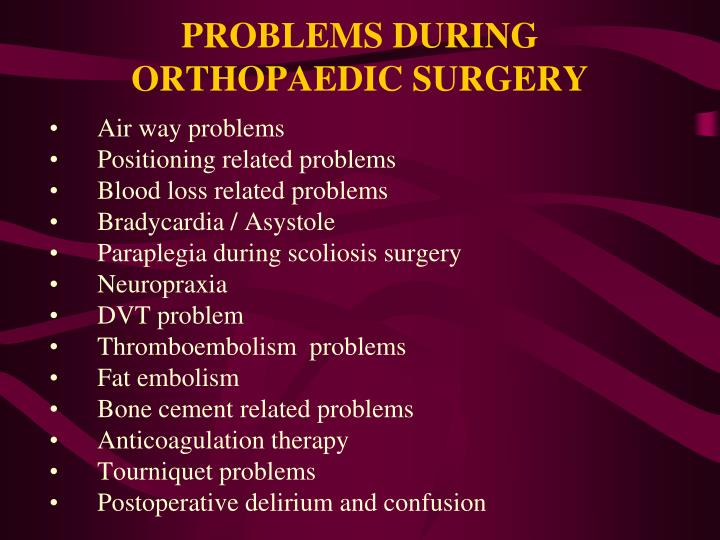 Problems during orthopaedic surgery1