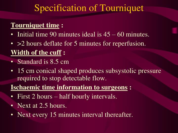 Specification of Tourniquet