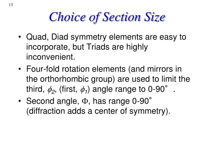 Choice of Section Size