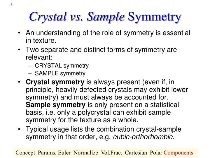 Crystal vs sample symmetry