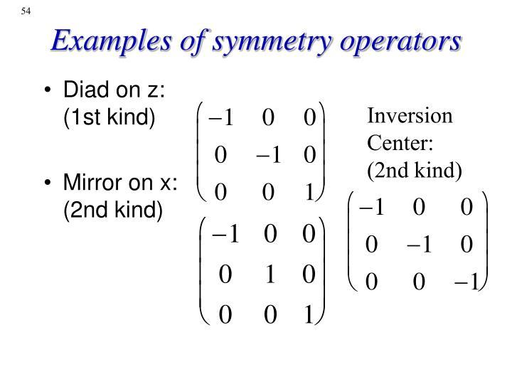 Examples of symmetry operators