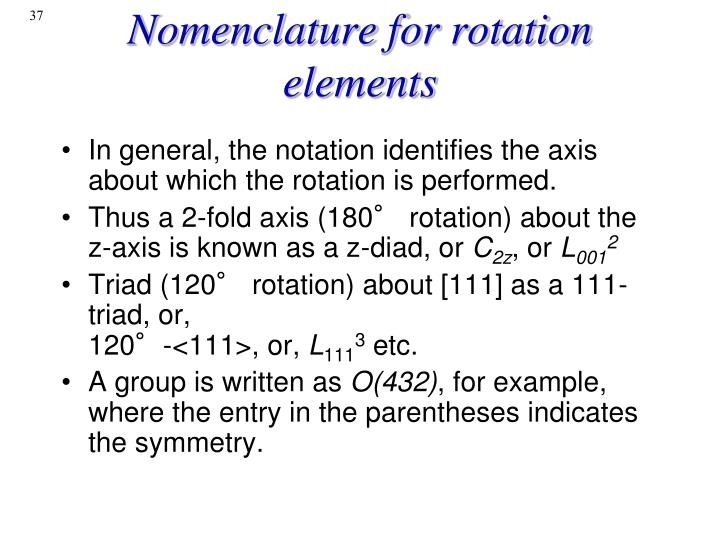 Nomenclature for rotation elements