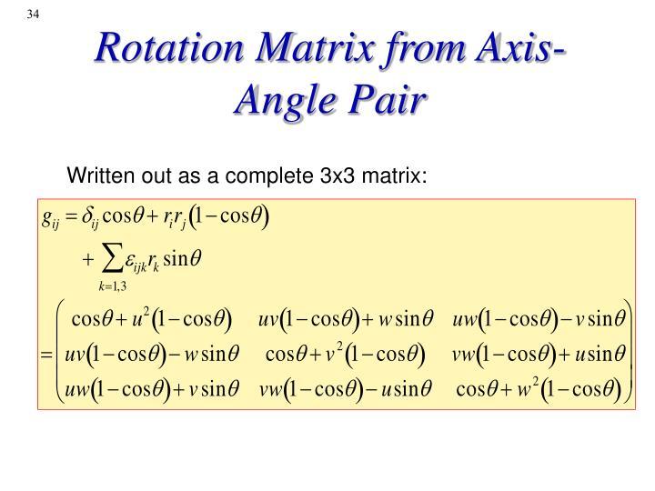 Rotation Matrix from Axis-Angle Pair