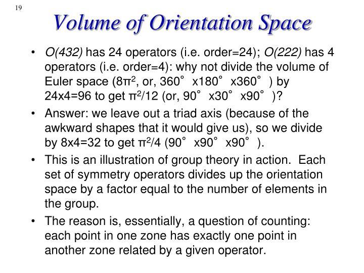 Volume of Orientation Space