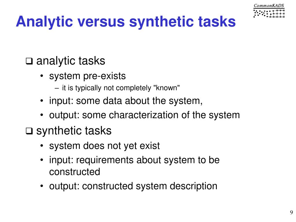 Analytic versus synthetic tasks
