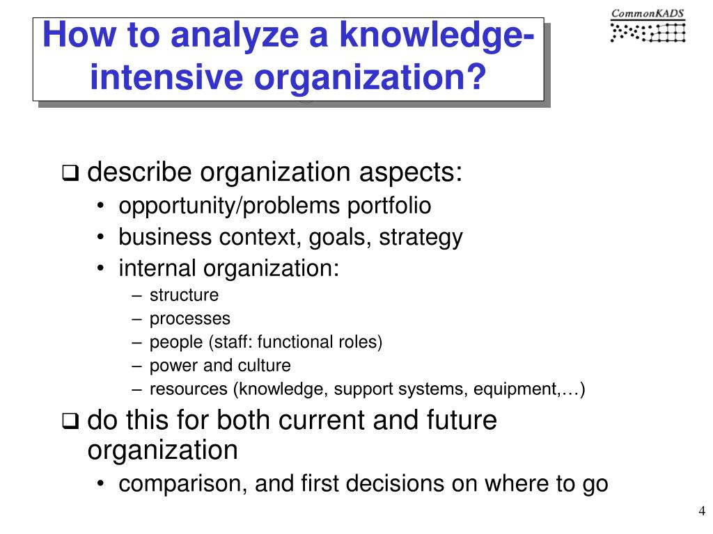 How to analyze a knowledge-intensive organization