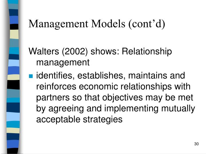Management Models (cont'd)