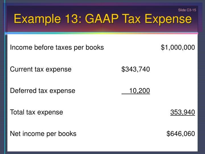 Example 13: GAAP Tax Expense