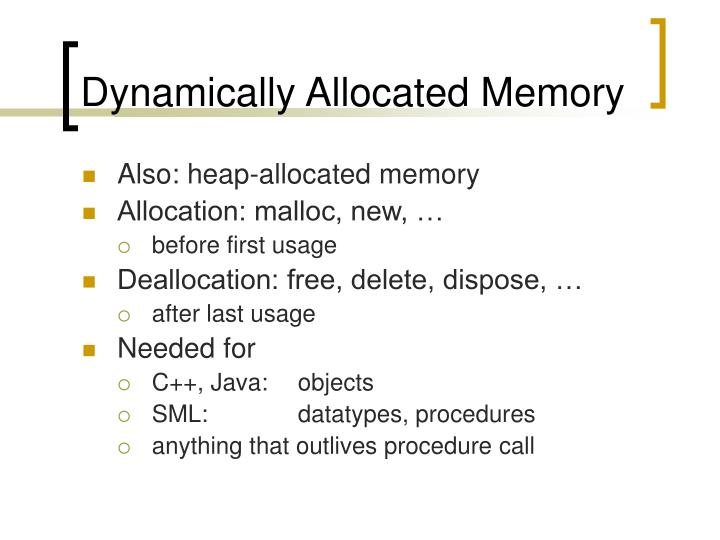 Dynamically Allocated Memory