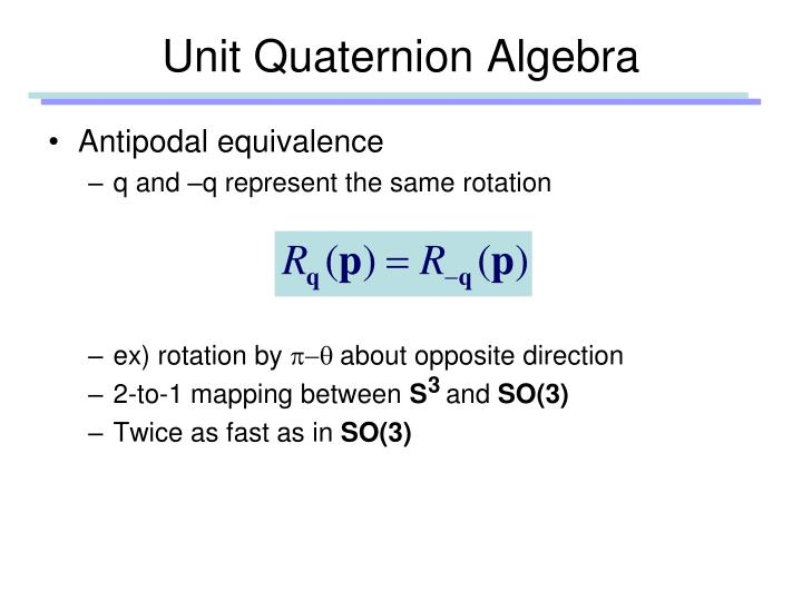 Unit Quaternion Algebra