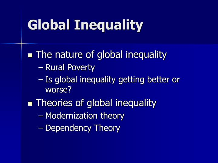 global inequality This entry presents the evidence on global economic inequality it considers economic history and how global inequality has changed and is predicted to continue changing in the future.