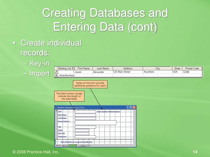 Creating Databases and