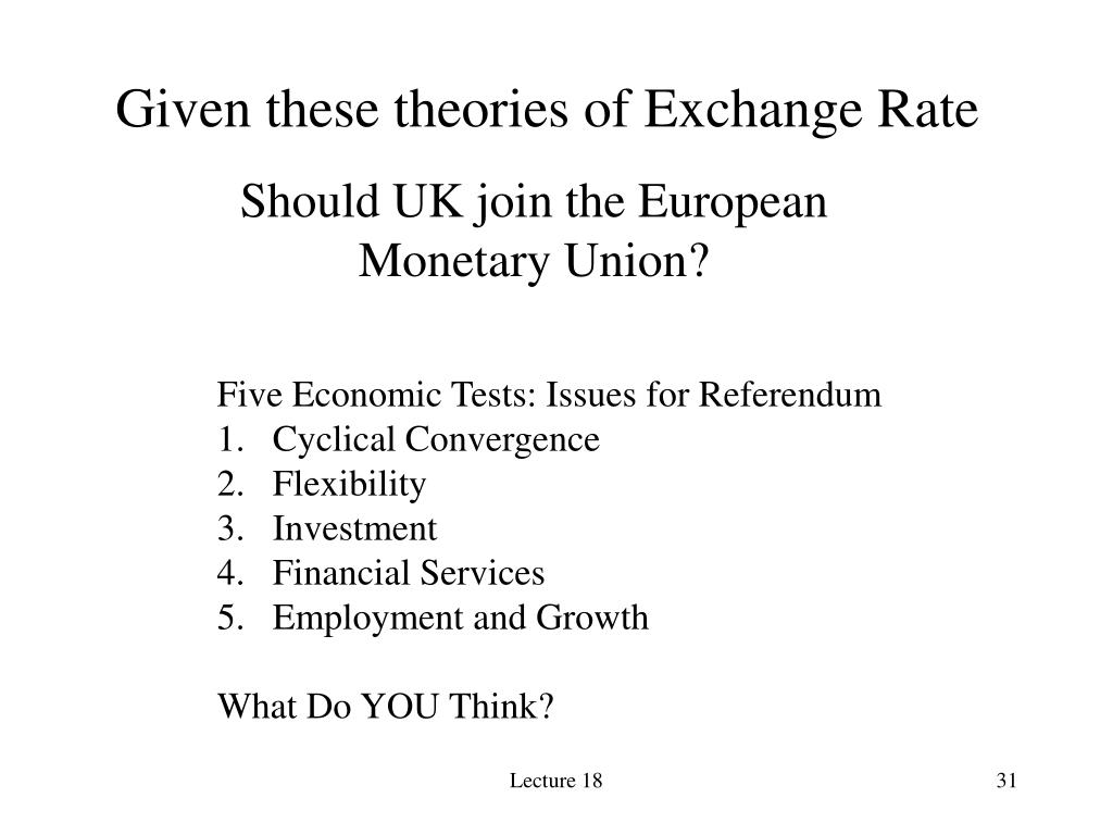 Given these theories of Exchange Rate