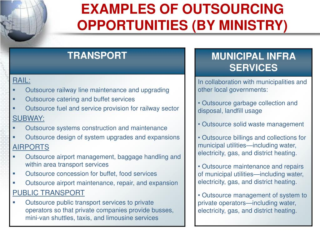 EXAMPLES OF OUTSOURCING OPPORTUNITIES (BY MINISTRY)