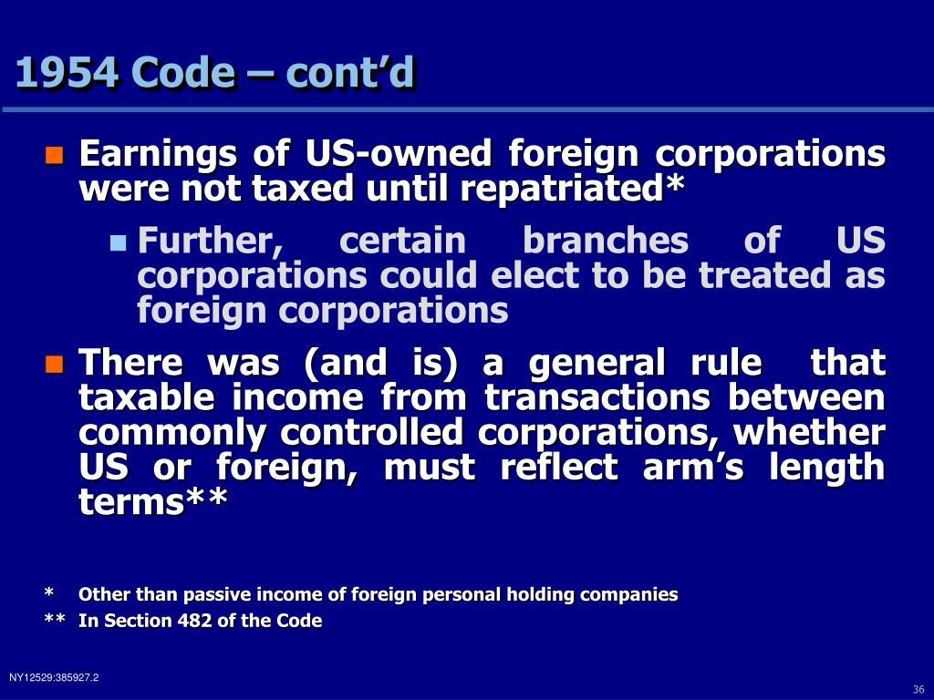 1954 Code – cont'd