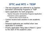 iftc and mti tesp