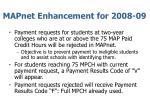 mapnet enhancement for 2008 09