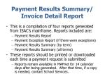 payment results summary invoice detail report