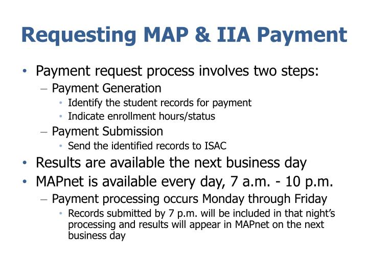 Requesting MAP & IIA Payment