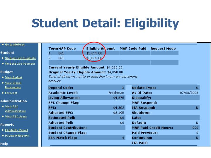 Student Detail: Eligibility