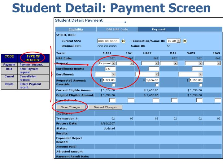 Student Detail: Payment Screen