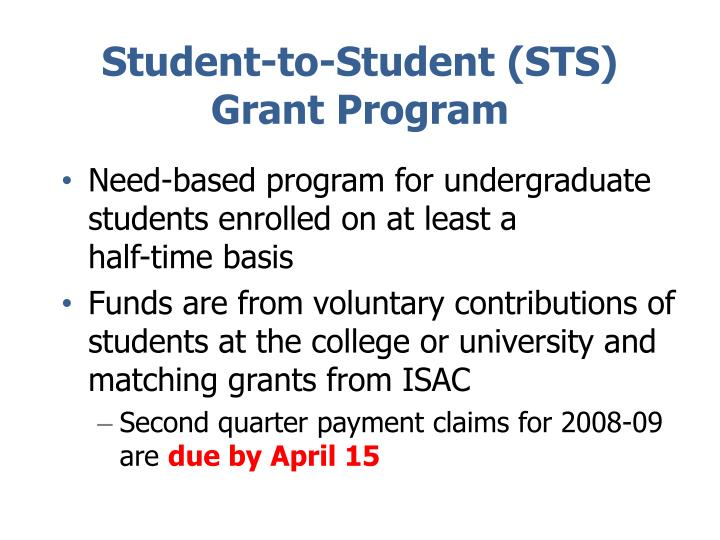 Student-to-Student (STS) Grant Program