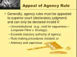 appeal of agency rule