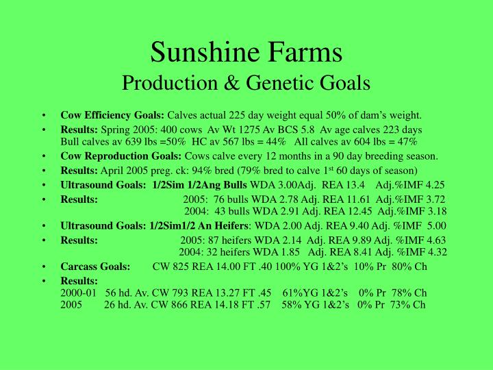 Sunshine farms production genetic goals