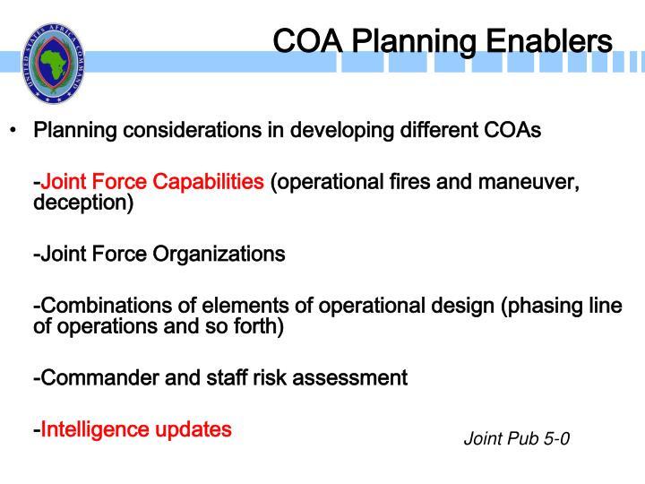 COA Planning Enablers