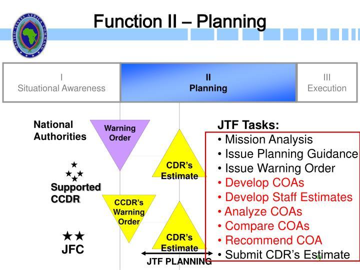 Function II – Planning
