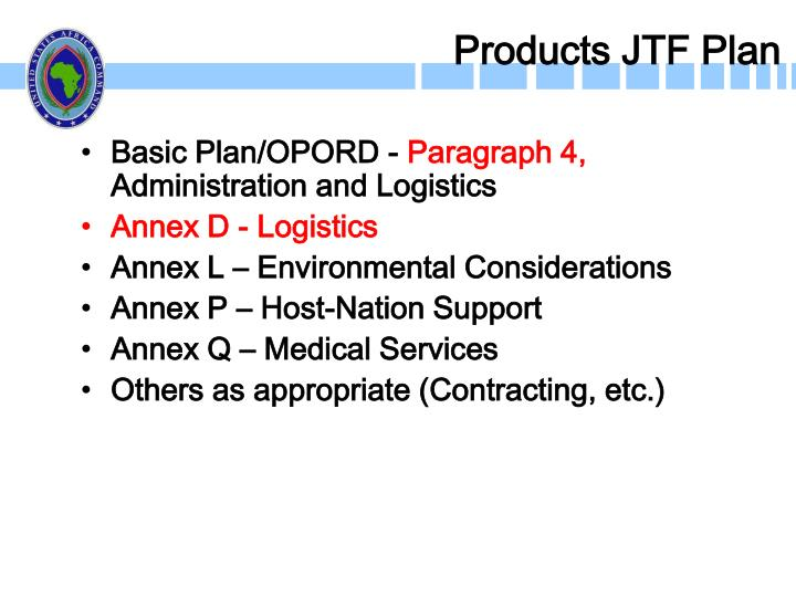 Products JTF Plan