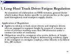 1 long haul truck driver fatigue regulation