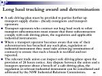 long haul trucking award and determination22